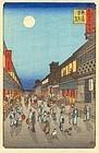 Hiroshige Japanese Woodblock Print - Night Street