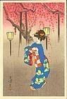 Toshikata Mizuno Japanese Woodblock Print - Geisha