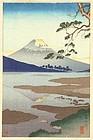 Koitsu Japanese Woodblock Print - Fujikawa - Rare