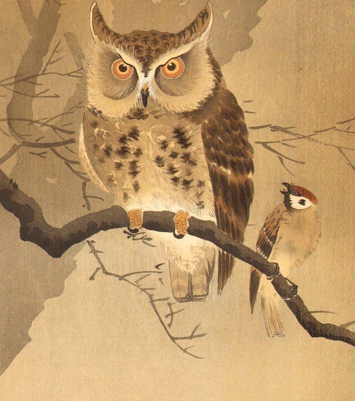 Ohara Koson Japanese Woodblock Print - Rare Owl SOLD