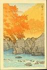 Kawase Hasui Japanese Woodblock Print - Autumn Shiobara
