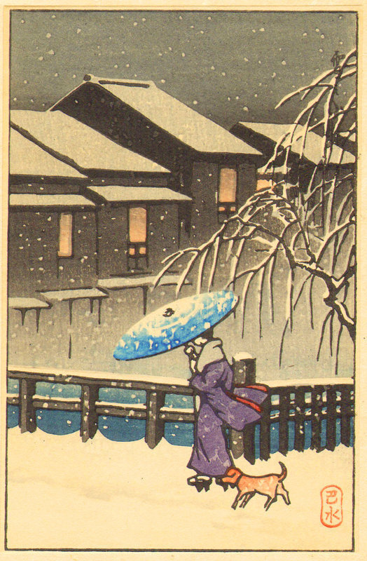 Kawase Hasui Woodblock Print - Walk w/ Dog SOLD
