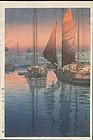 Tsuchiya Koitsu Japanese Woodblock Print -Sunset at Tomonotsu