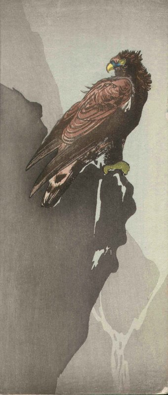 Japanese Woodblock Print - Eagle on Cliff - Attributed to Shoda Koho