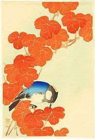 Ito Sozan Woodblock Print - Blue Bird and Autumn Leaves