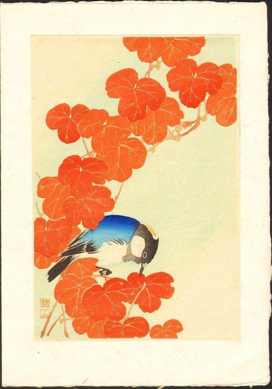 Ito Sozan Woodblock Print - Blue Bird and Autumn Leaves SOLD