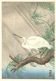 Ohara Koson (Shoson) Woodblock Print - Egret on Willow SOLD