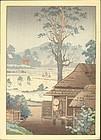 Tsuchiya Koitsu Japanese Woodblock Print - Rice Planting - RARE