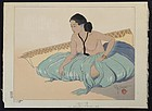 Paul Jacoulet Japanese Woodblock Print - Sur le Sable, Rhull, Yap SOLD