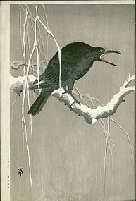 Ohara Koson Japanese Woodblock Print - Cawing Crow RARE SOLD