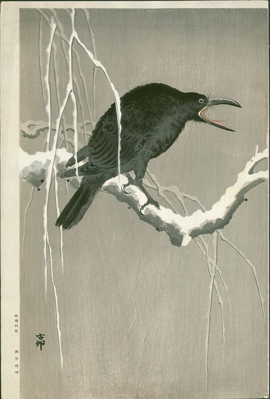 Ohara Koson Japanese Woodblock Print - Cawing Crow SOLD