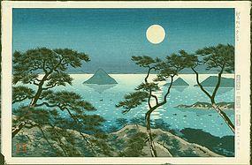 Koichi Okumura Japanese Woodblock Print - Evening at Washiuzan