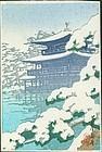 Kawase Hasui Japanese Woodblock print - Kinkakuji Temple in the Snow