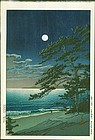 Kawase Hasui Japanese Woodblock - Spring Moon Ninomiya Beach SOLD