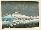 Hiroshige Ando Japanese Woodblock Print - Mt. Fuji in Snow - Chirimen
