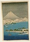 Hiroshige Japanese Woodblock Print - Fuji and Snowy Lake  - Chirimen
