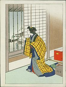 Japanese Woodblock Print - Woman in Yellow at Window