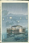 Kawase Hasui Japanese Woodblock Print - Rain Shuzenji, 1st ed RESERVED