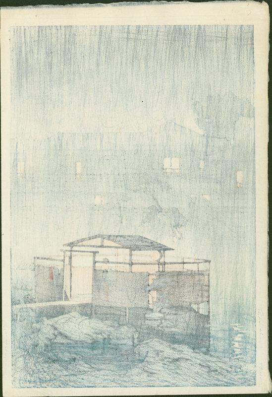 Kawase Hasui Japanese Woodblock Print - Rain Shuzenji, 1st ed SOLD