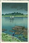 Kawase Hasui Japanese Woodblock - Summer Rain, Arakawa River SOLD
