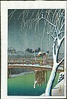 Kawase Hasui Woodblock Print - Evening Snow, Edo River SOLD