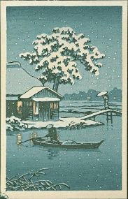 Hasui (-Attributed) Japanese Woodblock Print - Boat on Snowy Lake SOLD