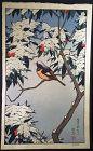 Toshi Yoshida Japanese Woodblock Print - Bird in Winter SOLD