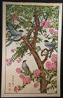 Toshi Yoshida Japanese Woodblock Print - Birds in Summer SOLD