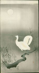 Ohara Koson Japanese Woodblock Print - Two Egrets On a Branch  - Rare