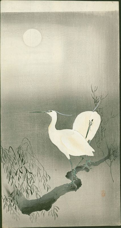 Ohara Koson Woodblock Print - Two Egrets On a Branch  - Rare SOLD