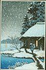 Japanese Woodblock Print - Snowy Cottage