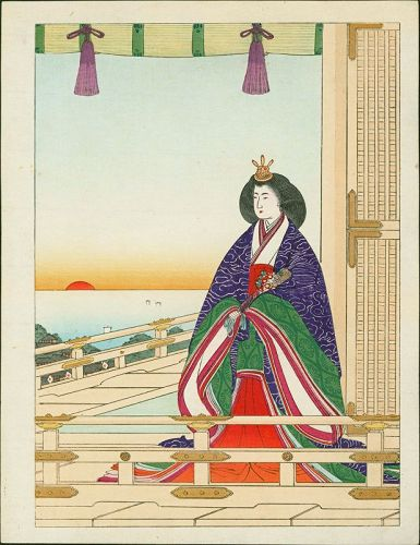 Japanese Woodblock Print - Woman in Purple on Balcony