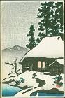 Kawase Hasui Japanese Woodblock Print - Snowy House