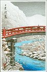 Kawase Hasui Japanese Woodblock Print - Sacred Bridge