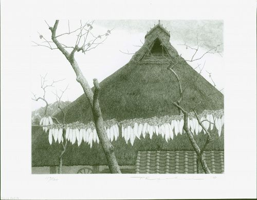 Ryohei Tanaka Japanese Etching - Roof and Radishes Ltd. Ed. 1978