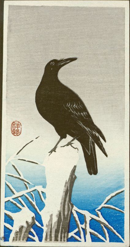 Ohara Koson (Shoson) Japanese Woodblock Print - Crow on Snowy Stump