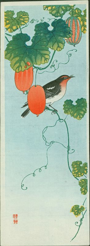 Ohara Koson (Shoson) Woodblock Print - Flycatcher and Cucumber SOLD