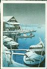 Kawase Hasui Japanese Woodblock Print - Mukojima in Snow