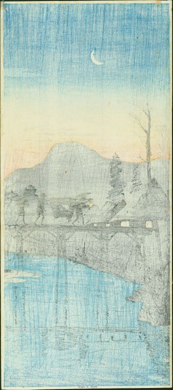 Takahashi Shotei Japanese Woodblock Print - Evening Glow Sakawa Bridge