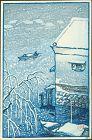 Kawase Hasui Japanese Woodblock Print - Fisherman in the Snow