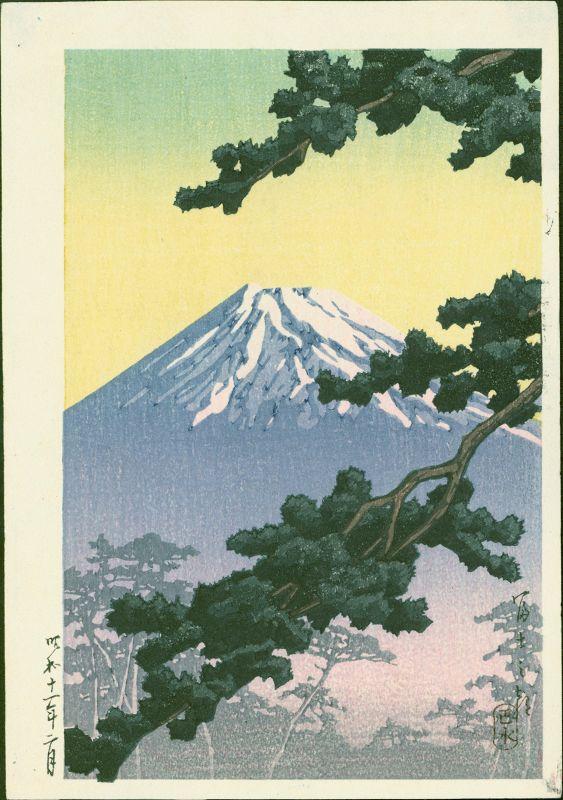 Hasui Kawase Japanese Woodblock Print - Sacred Mount Fuji