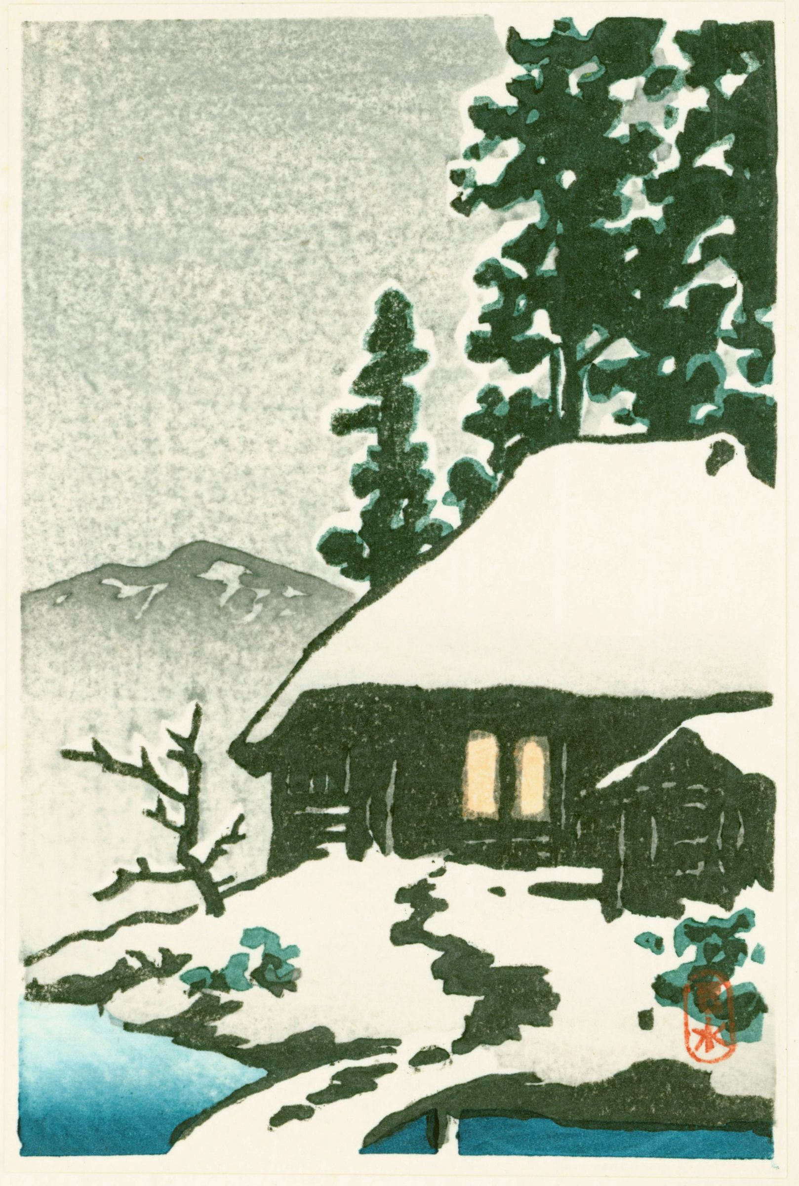 Kawase Hasui Japanese Woodblock Print - Snow-Covered Cottage