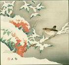 Hirose Chikuseki Japanese Woodblock Print - Bird on Snowy Nandin Bush