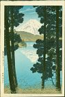 Kasamatsu Shiro Japanese Woodblock Print - Mt. Fuji from Lake Ashino