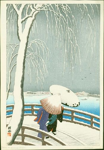 Ohara Koson (Shoson) Japanese Woodblock Print - Snow On Willow Bridge