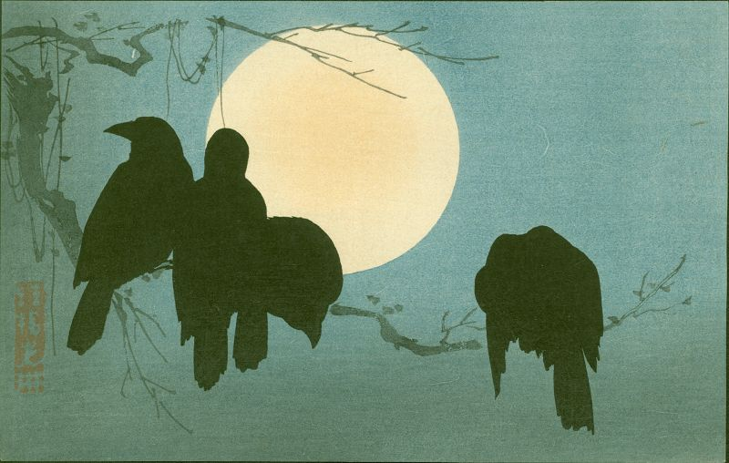 Ogata Korin Japanese Woodblock Print - Crows and Moon