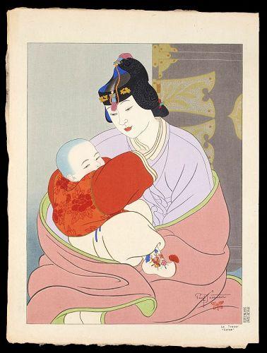 Paul Jacoulet Japanese Woodblock Print - The Treasure, Korea