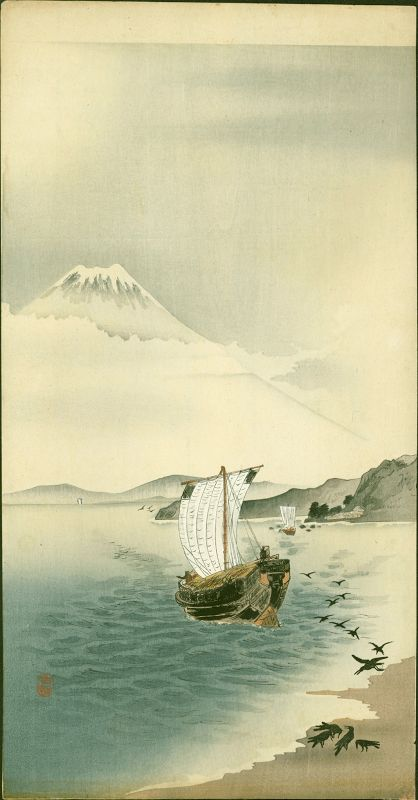 Ohara Koson Japanese Woodblock Print - Snow-capped Mt. Fuji -RARE