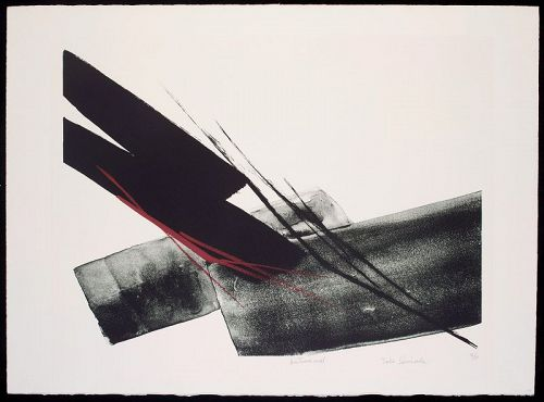 Toko Shinoda Lithograph with Red Brushstrokes - Autumnal