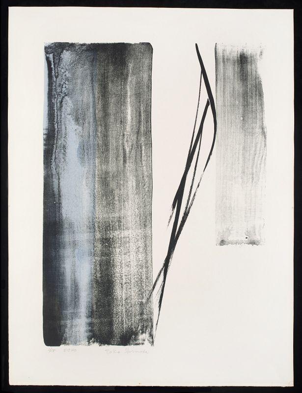 Toko Shinoda Lithograph with Sumi-e Brushstrokes - Echo